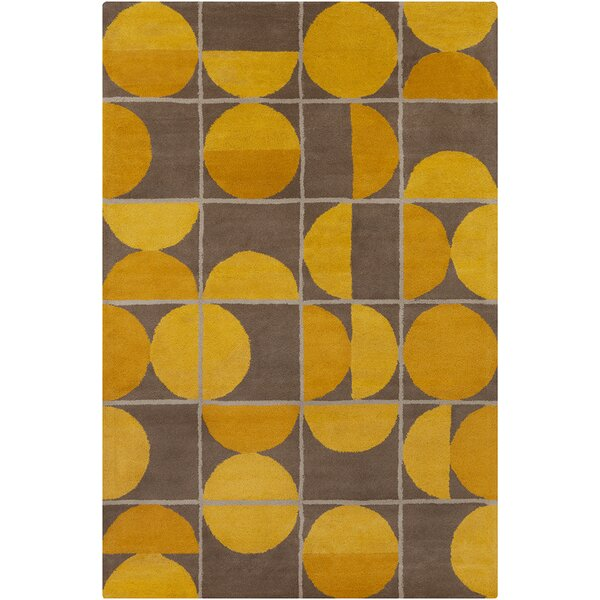 Willa Hand Tufted Wool Brown/Yellow Area Rug by Corrigan Studio