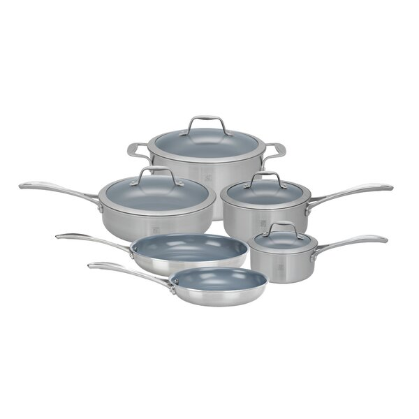 Spirit 10 Piece 3 Ply Non-Stick Stainless Steel Ceramic Cookware Set by Zwilling JA Henckels