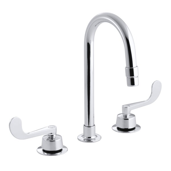 Triton Widespread Commercial Bathroom Sink Faucet with Gooseneck Spout with Vandal-Resistant Aerator and Rigid Connections, Requires Handles, Drain Not Included by Kohler