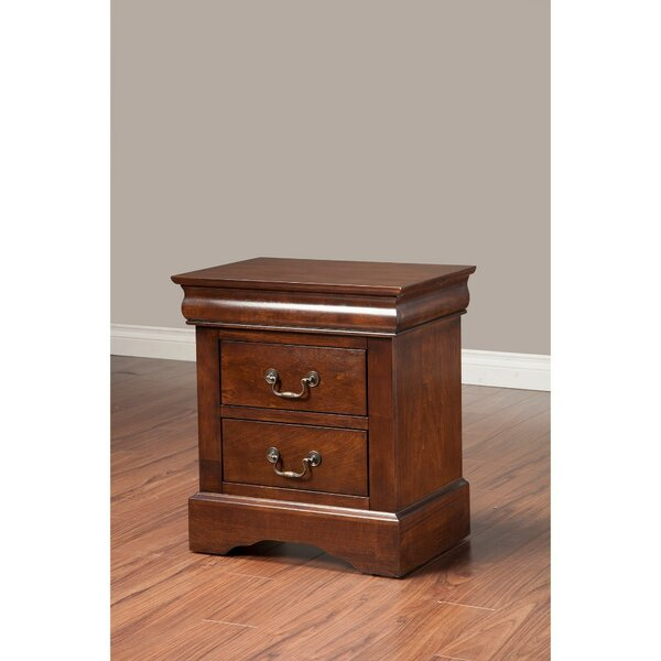Lanza Rubberwood 2 Drawer Nightstand by Alcott Hill