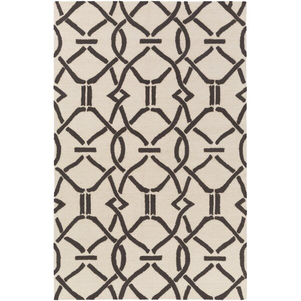 Dyess Hand-Crafted Cream/Brown Area Rug by Charlton Home