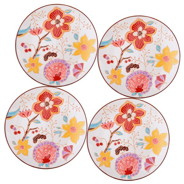 Ostlund 8 Salad Plate Set Red Floral Set (Set of 4) by Bungalow Rose