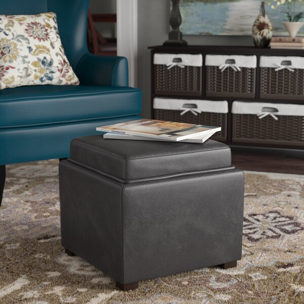 Newfield Tray Leather Cube Storage Ottoman By Alcott Hill
