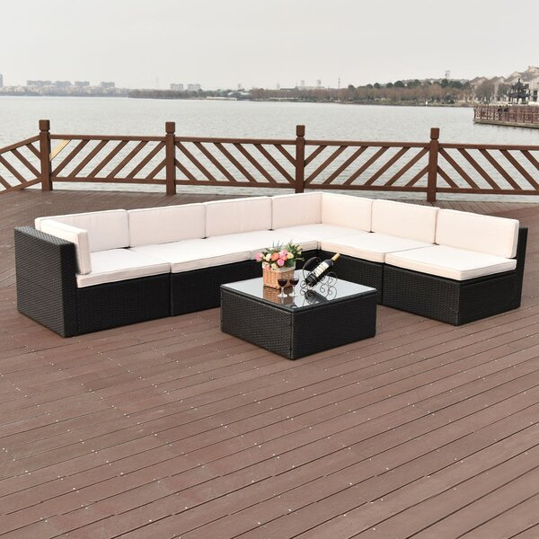 Argeros Patio 7 Piece Rattan Sectional Seating Group with Cushions by Latitude Run