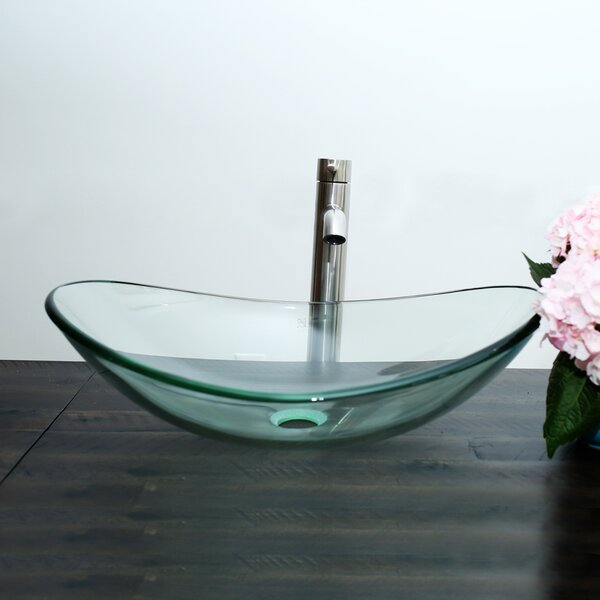 Glass Oval Vessel Bathroom Sink with Faucet by Arsumo