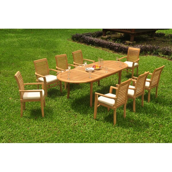 Garlington 9 Piece Teak Dining Set by Rosecliff Heights