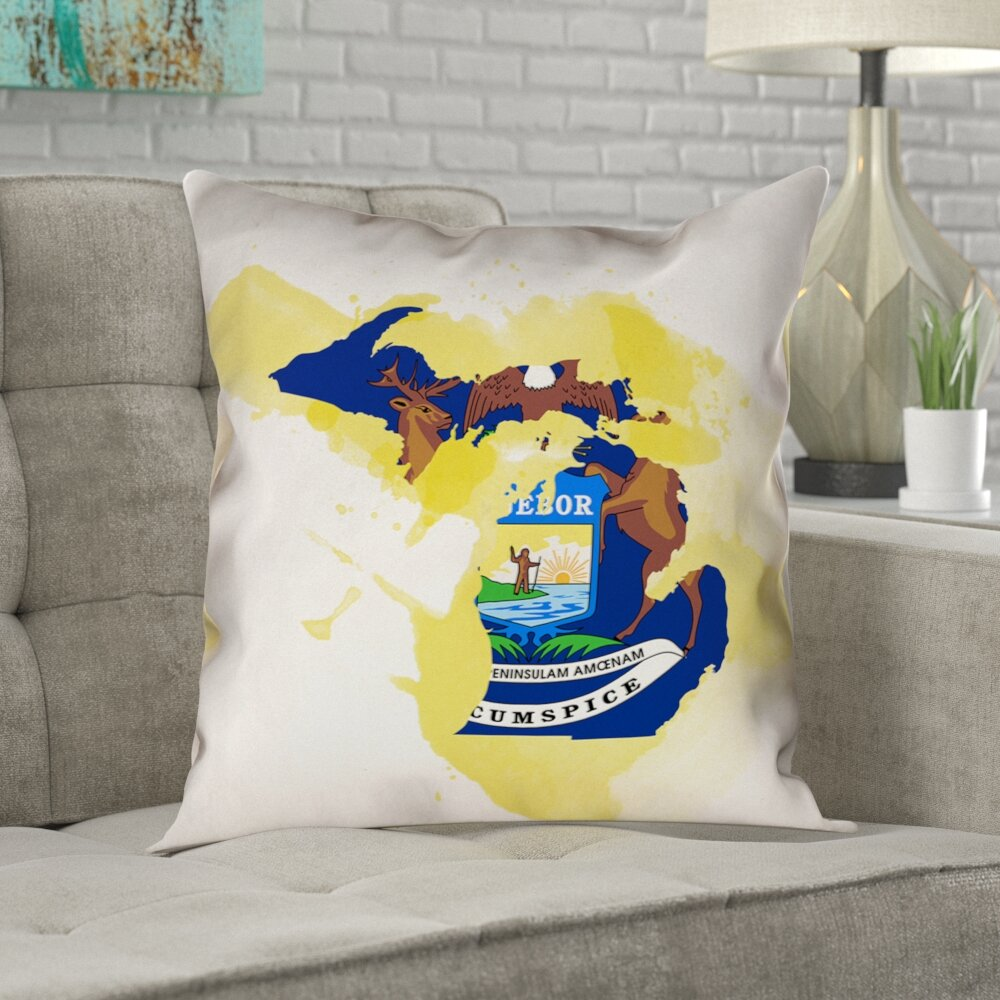 Ivy Bronx Mendell Michigan State Flag Pillow In Faux Linen Double Sided Print Euro Pillow Wayfair
