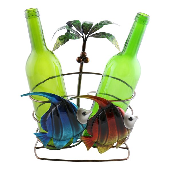 Isabella Fish and Palm Tree 2 Bottle Tabletop Wine Rack by Wine Bodies