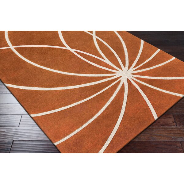 Dewald Carmine/Antique White Area Rug by Ebern Designs