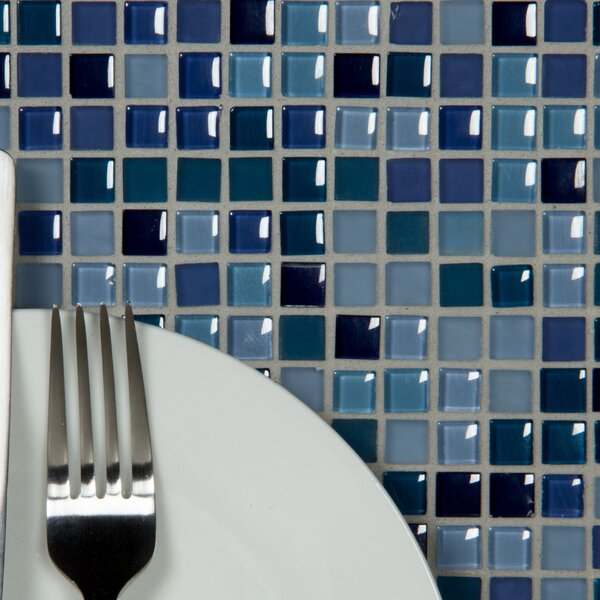 Petite 0.38 x 0.38 Glass Mosaic Tile in Royal Blue by Abolos