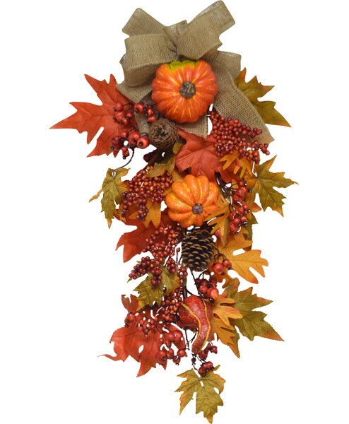 Grande Pumpkin Berry Fall Door Swag by Floral Home Decor