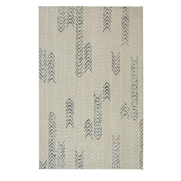 Braydon Arrow Waves Cream/Gray Area Rug by Mercury Row
