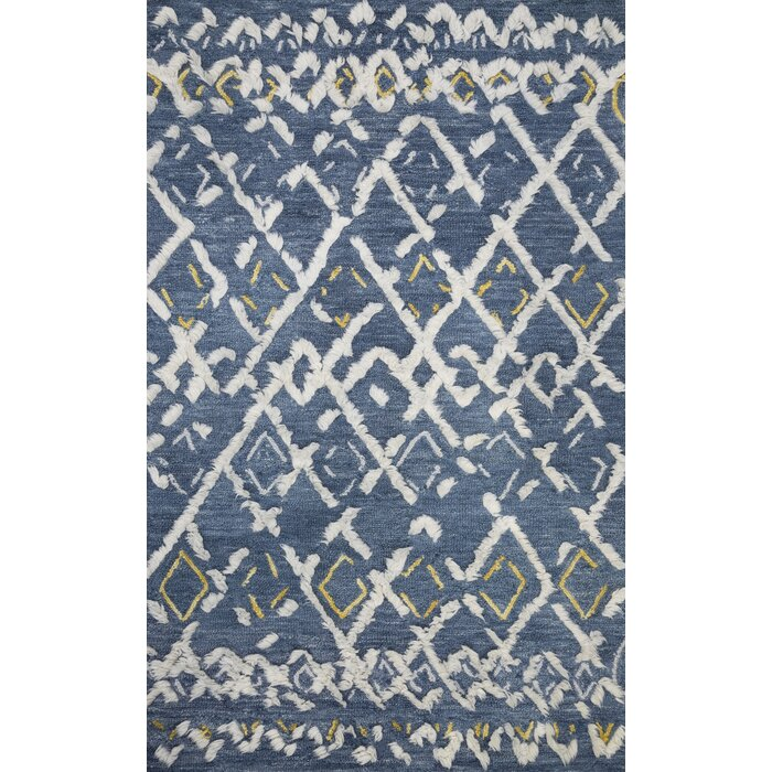 Symbology Hand Tufted Wool Blue White Area Rug