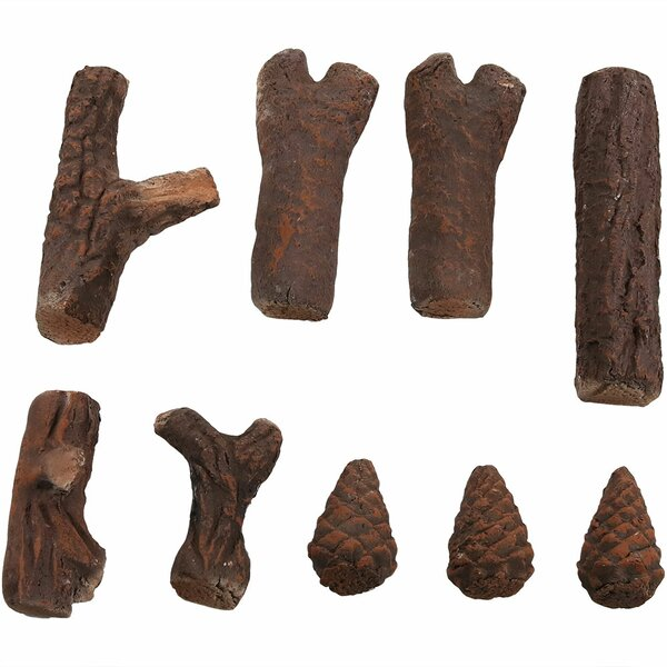 9 Piece Ceramic Wood Fireplace Log Set by Wildon Home ®