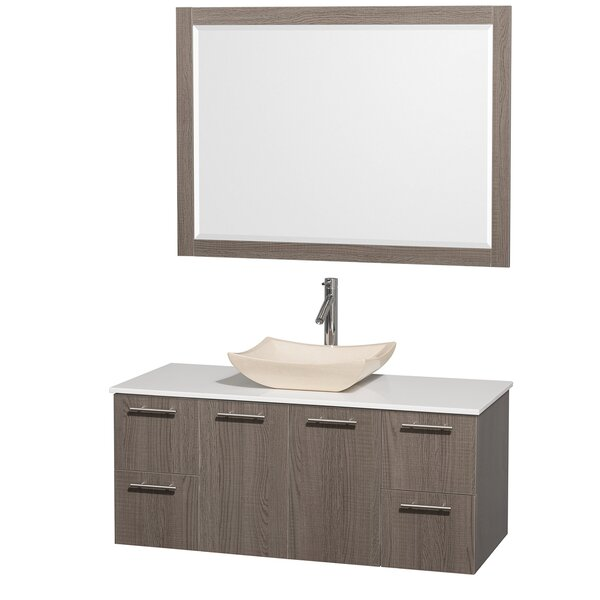Amare 48 Wall-Mounted Single Bathroom Vanity Set with Mirror