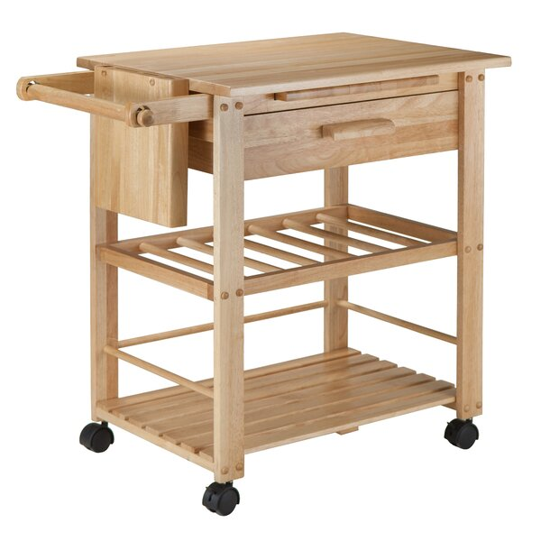 Finland Kitchen Cart with Wooden Top by Winsome