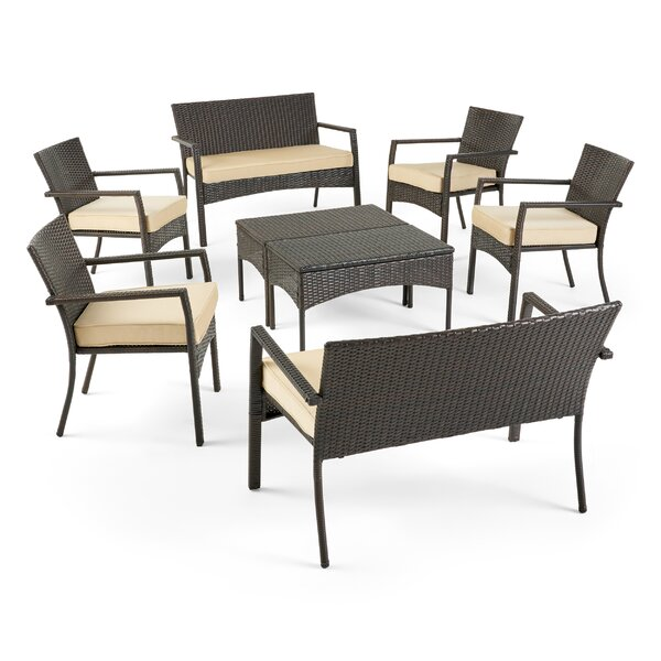 Labrecque Outdoor 8 Piece Rattan Sofa Seating Group with Cushions by Ivy Bronx