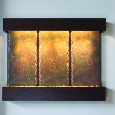 Water Wonders Copper Slate Triptych Falls Fountain with LED Light by Bluworld