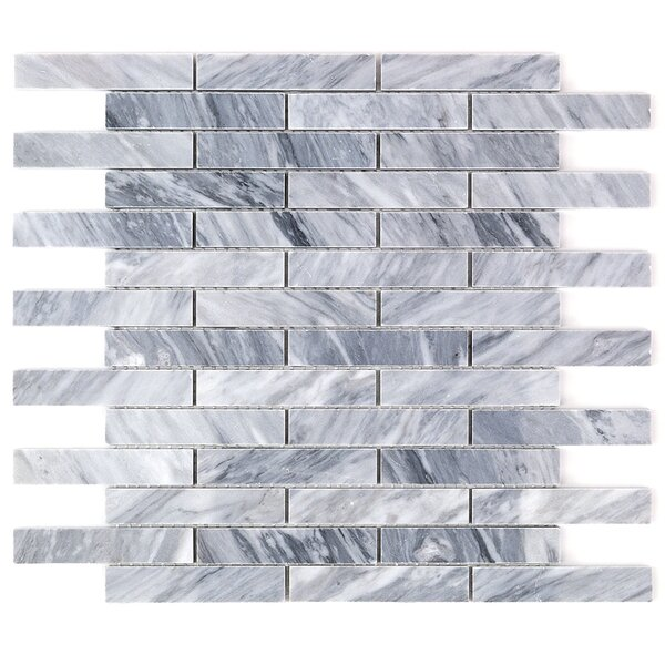 Bardiglio Nuvolato Brick Joint 0.8 x 4 Marble Mosaic Tile in Gray by Splashback Tile