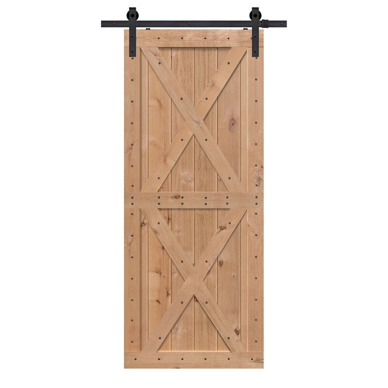 Paneled Wood Finish Double X Barn Door without Installation Hardware Kit