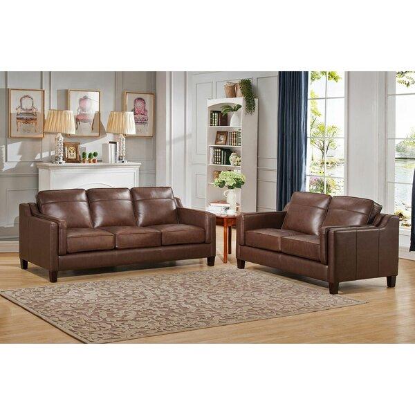 Katherine Leather 2 Piece Living Room Set by Red Barrel Studio