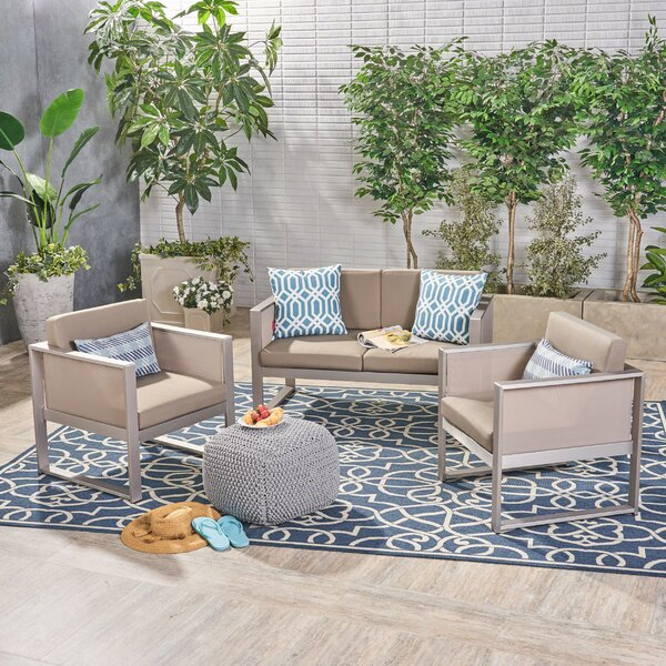 Juan Outdoor Mesh 3 Piece Sofa Seating Group with Cushions by Ebern Designs