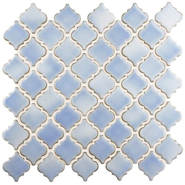 Pharsalia 2 x 2.25 Porcelain Mosaic Tile in Frost Blue by EliteTile