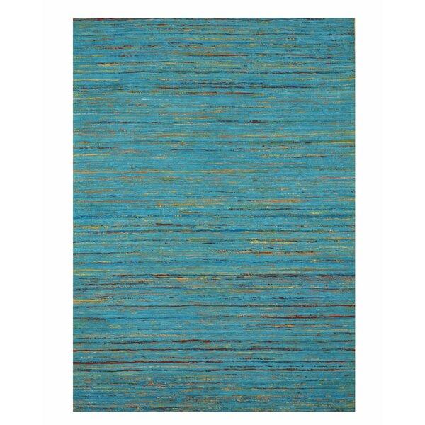 Mittler Stripe Sereh Hand-Woven Cotton Blue Area Rug by Bloomsbury Market