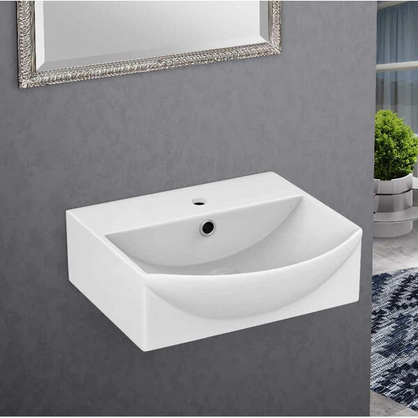 Ceramic 13.75 Bathroom Sink with Overflow