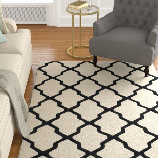 Gillam Hand-Tufted Wool Ivory/Black Area Rug by Charlton Home