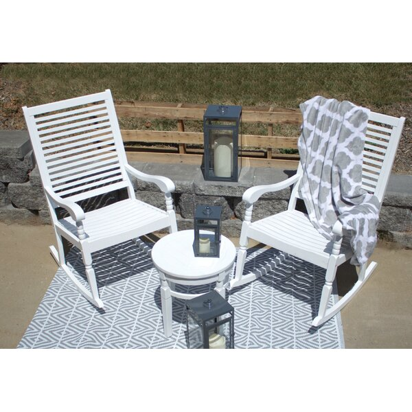Linco Hardwood Porch 3 Piece Seating Group with Cushions by Highland Dunes