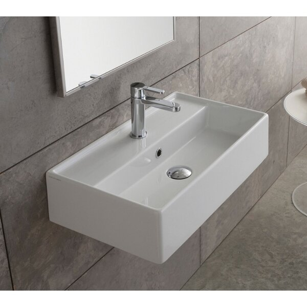 Teorema Ceramic Rectangular Vessel Bathroom Sink with Overflow by Scarabeo by Nameeks