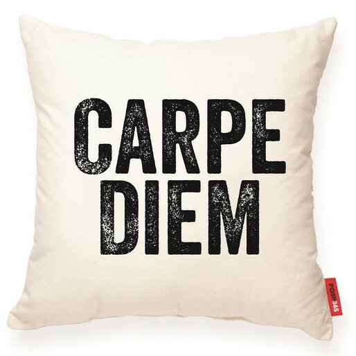 Expressive Carpe Diem Decorative Cotton Throw Pillow by Posh365