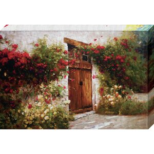 'Roses and Old Stone' by Ian Cook Painting Print on Wrapped Canvas by North American Art