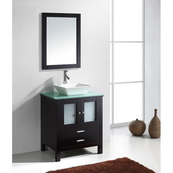 Millett 28 Single Bathroom Vanity Set with Tempered Glass Top and Mirror by Latitude Run