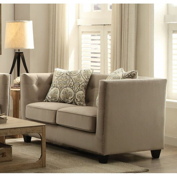 Loveseat With 2 Pillows Beige Fabric by Red Barrel Studio Red Barrel Studio