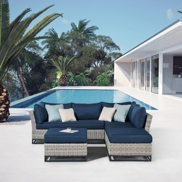 Torrance II 4 Piece Aluminum Sectional Seating Group with Cushions by Ove Decors Ove Decors