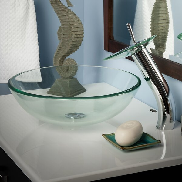 Bonificare Glass Circular Vessel Bathroom Sink with Faucet by Novatto