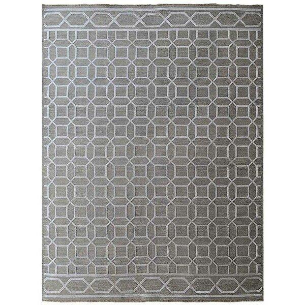 Ry Sumak Geometric Hand-Knotted Gray Area Rug by Latitude Run