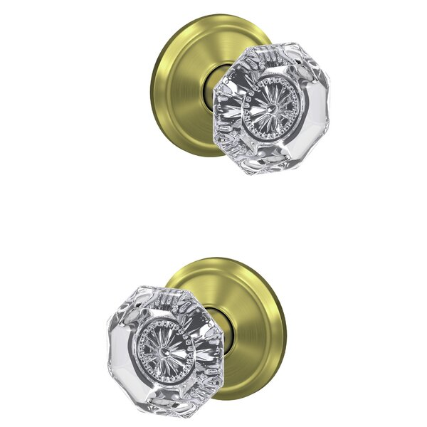 Custom Alexandria Hall-Closet and Bed-Bath Glass Knob with Alden Trim (Set of 2) by Schlage