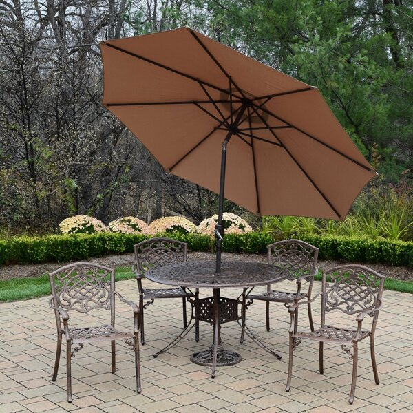 Capitol Mississippi 5 Piece Dining Set with Umbrella by Oakland Living