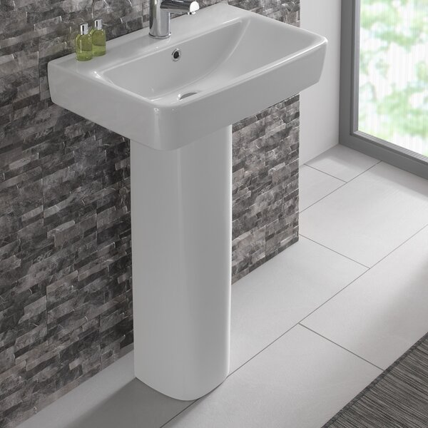 Comprimo Vitreous China 22 Pedestal Bathroom Sink with Overflow
