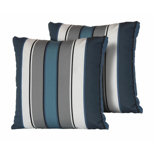 24f1f40dd Cyprian Stripe Square Outdoor Throw Pillow (Set of 2)