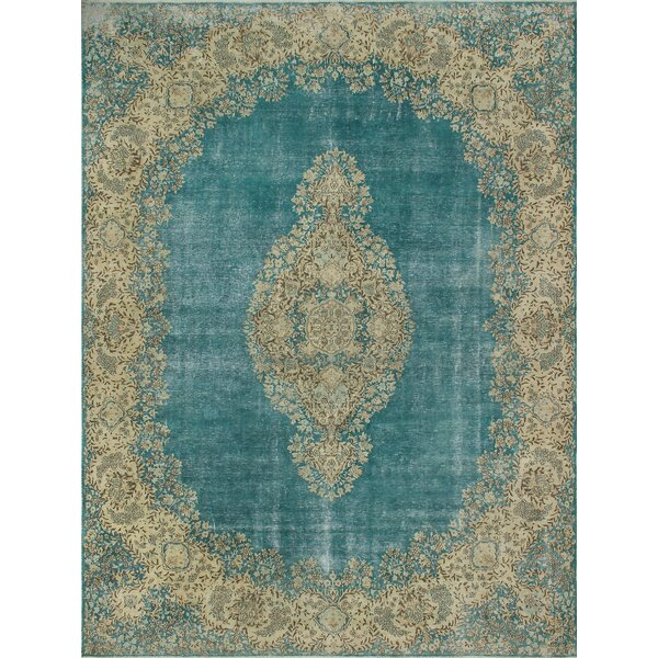 One-of-a-Kind Karan Distressed Hand-Knotted Wool Blue/Beige Area Rug by Isabelline