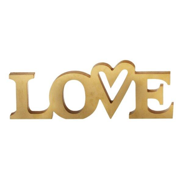 Gold Love Letter Block (Set of 4) by Winston Porter
