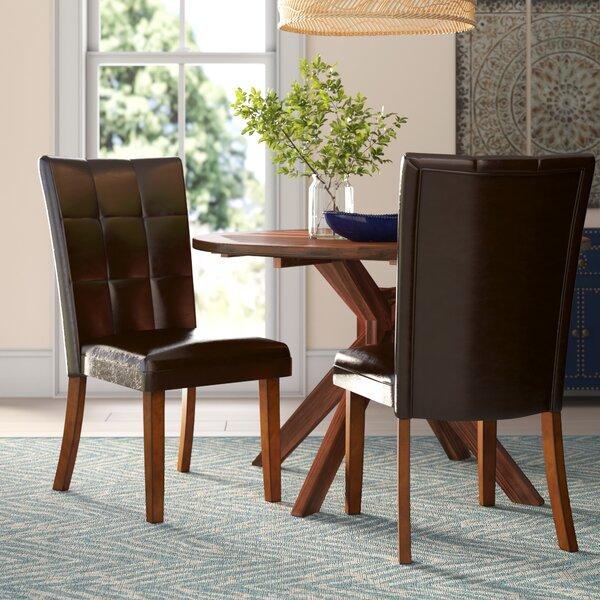 Madrid Upholstered Side Chair In Dark Brown (Set Of 2) By Hokku Designs