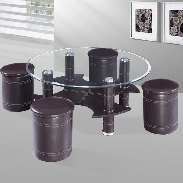 Geinbow Coffee Table with 4 Nested Stools by Orren Ellis Orren Ellis
