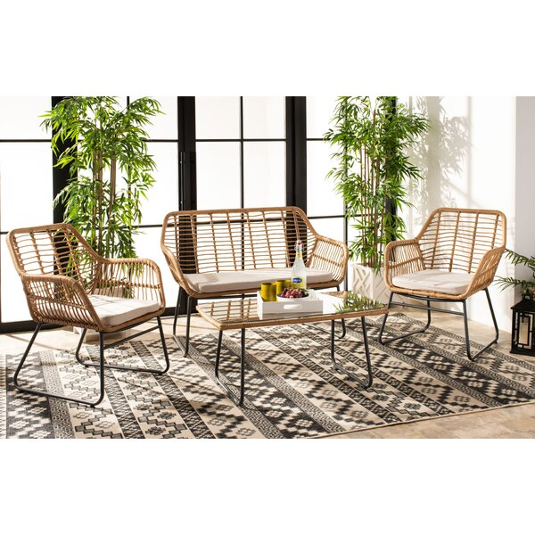 Padron 4 Piece Rattan Multiple Chairs Seating Group with Cushions by Bungalow Rose