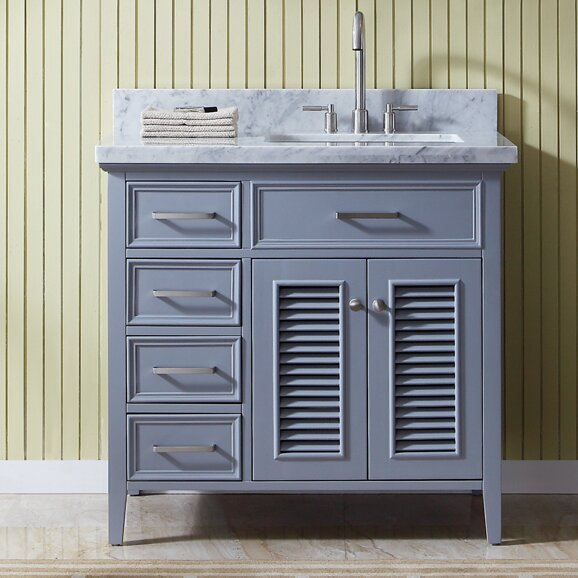 Hamil Right Offset 37 Marble Single Bathroom Vanity with Mirror by Highland Dunes