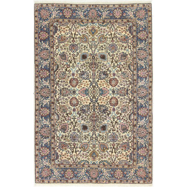 One-of-a-Kind Ritch Hamadan Hand-Woven Wool Ivory/Blue Area Rug by Astoria Grand